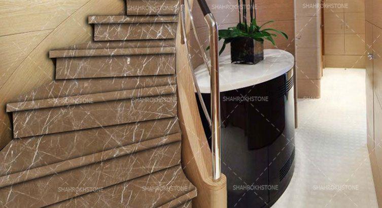 China-Beige-Marble-سنگ-قیمت-نما-پله-گردان-خارجی-نسکافه-ای-چین-خط-دار-سفید
