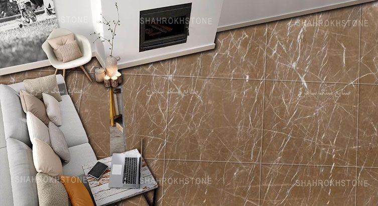 China-Beige-Marble-نما-کار-شده-و-کف-فرش-سنگ-خارجی-نسکافه-ای-چین-خط-دار-سفید