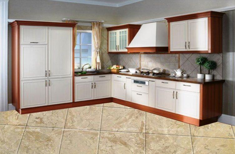 نما کف آشپزخانه با سنگ مرمریت آباده کرم گل پنبه ای